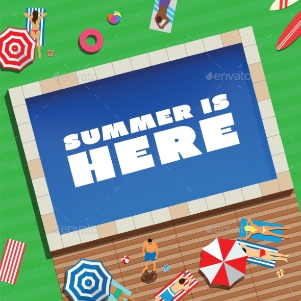 Summer is Here Abstract Vector Background or Card  - Backgrounds Decorative