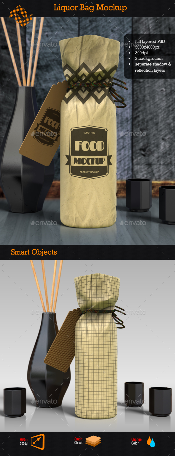 Liquor Bag Mockup - Food and Drink Packaging