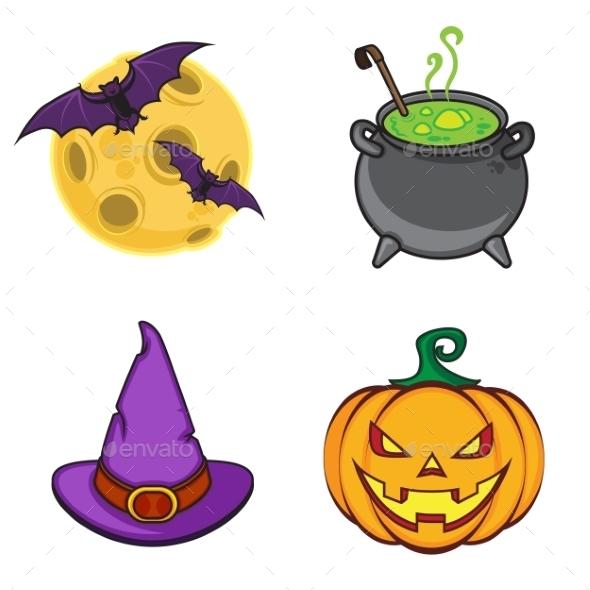 Halloween Cartoon Icon Objects. - Halloween Seasons/Holidays