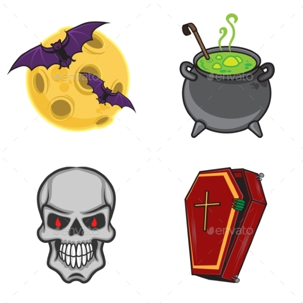 Halloween Cartoon Icon Objects. - Halloween Seasons/Holidays