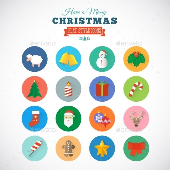 Flat Style Christmas Vector Icon Set With Gift Box - Christmas Seasons/Holidays