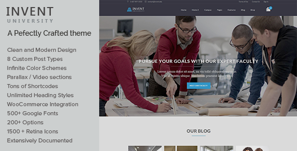 Invent – Education Course College WordPress Theme
