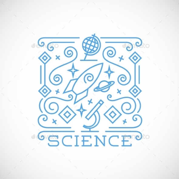 Line Style Science Vector Illustration - Technology Conceptual