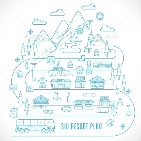 Line Style Vector Ski Resort Vacation Illustration - Sports/Activity Conceptual