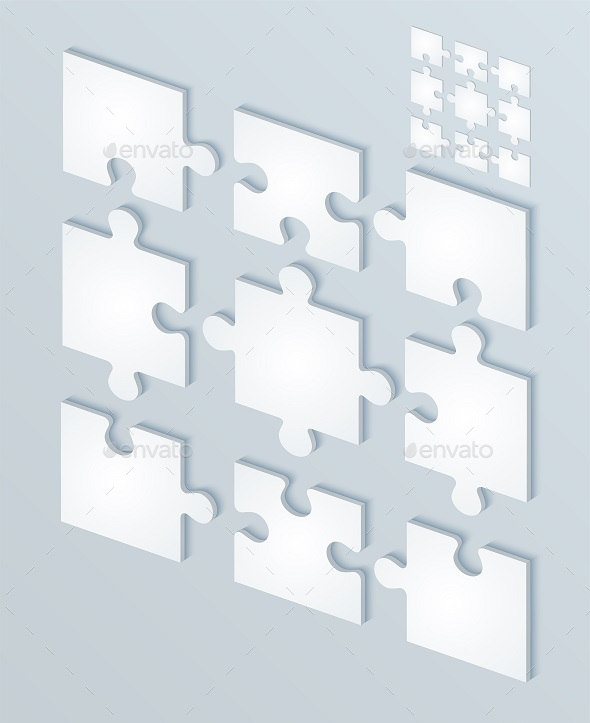 Parts Flat of Paper Puzzles. - Decorative Symbols Decorative