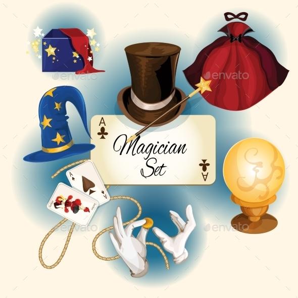 Magician Icons Set - Decorative Vectors