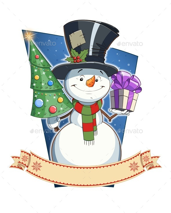 Snowman with Gift. Christmas Character - Christmas Seasons/Holidays