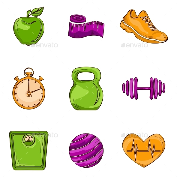 Fitness Sketch Line Icons - Sports/Activity Conceptual