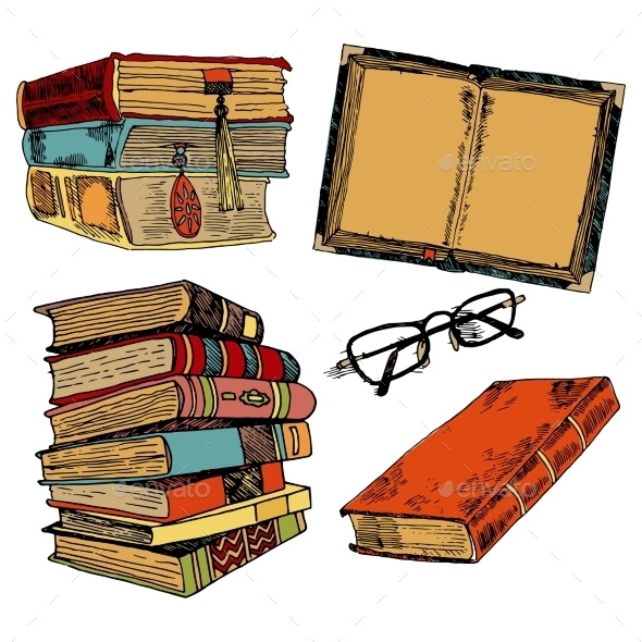 Vintage Books Color Sketch - Miscellaneous Vectors