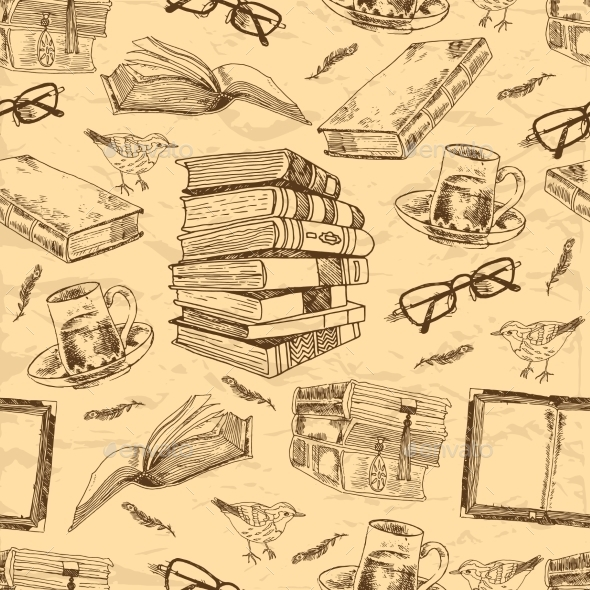 Vintage Books Seamless Pattern - Backgrounds Decorative