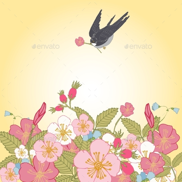 Vintage Flowers Background with Birds - Flowers & Plants Nature