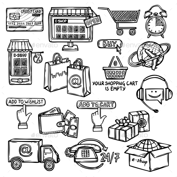 E-Commerce Icons Set Sketch - Retail Commercial / Shopping