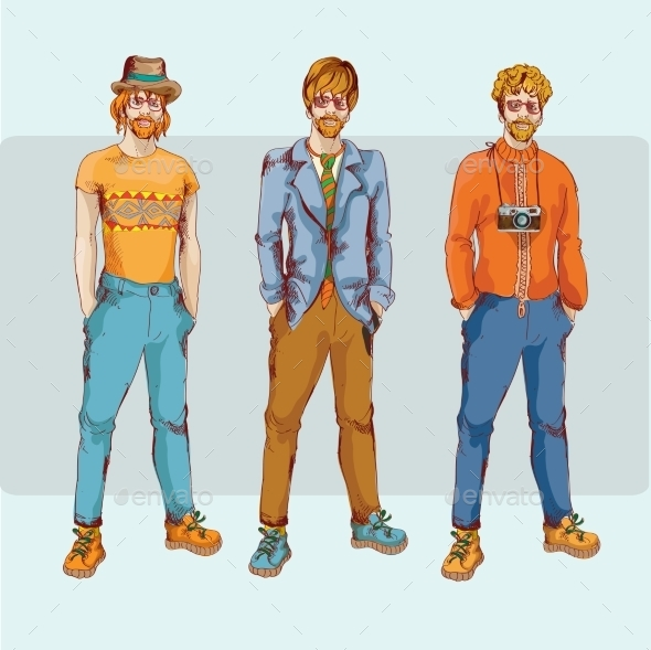 Hipster Boy Character Set - People Characters