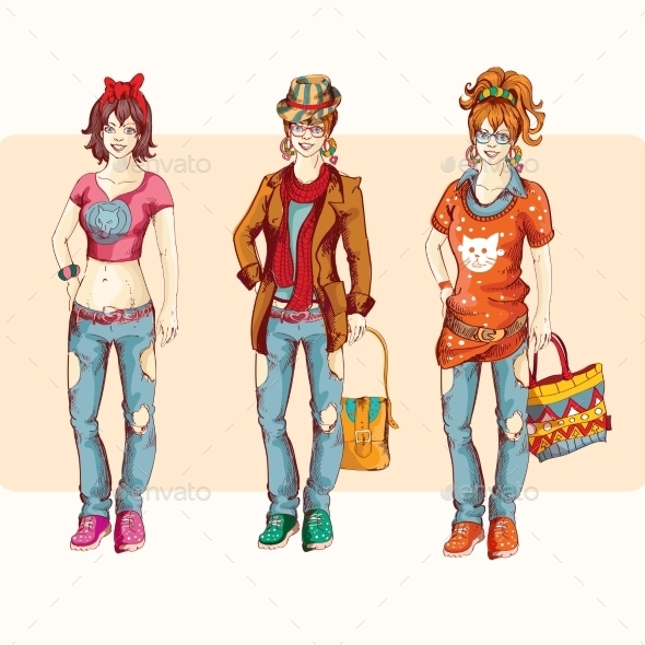 Hipster Girl Set - People Characters