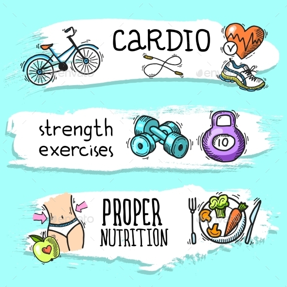 Fitness Sketch Banner Set - Sports/Activity Conceptual