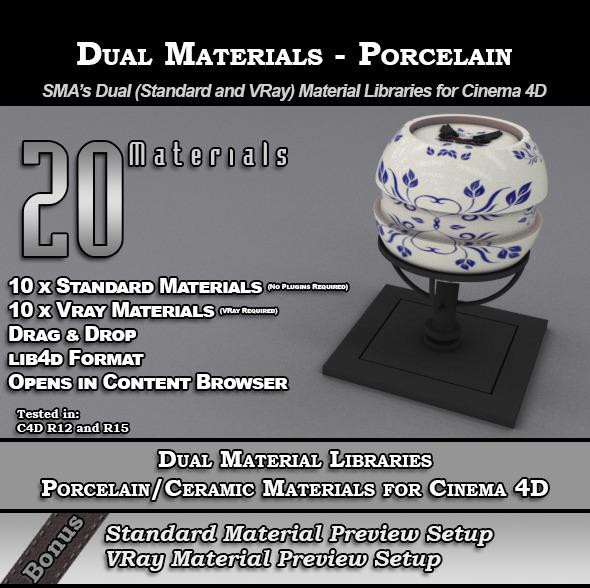 SMA's Dual Material Packs-Porcelain for Cinema 4D - 3DOcean Item for Sale