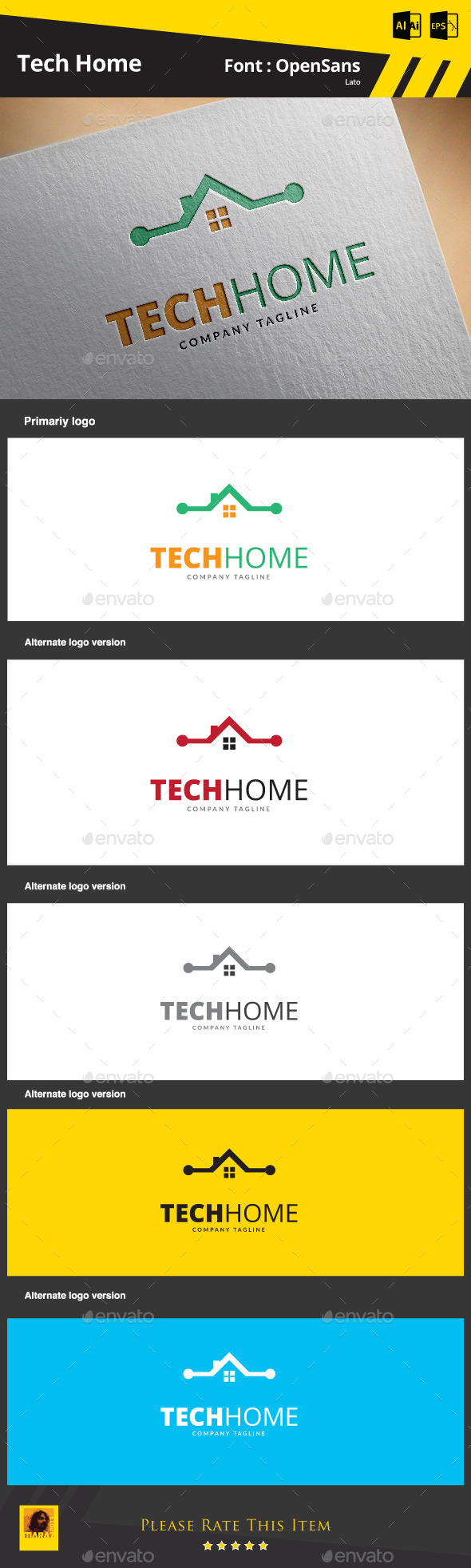 Tech Home Logo Template - Buildings Logo Templates