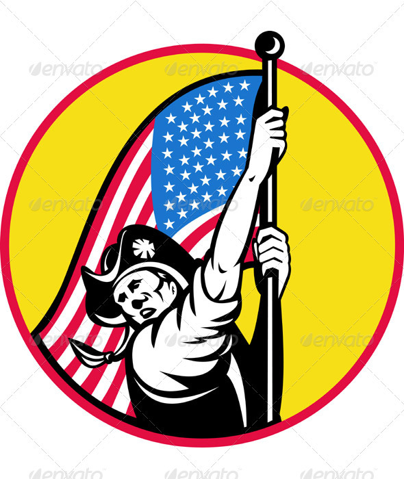 American Minuteman Revolution Militia With Flag - Miscellaneous Seasons/Holidays