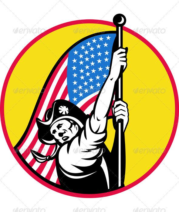 American Minuteman Revolution Militia With Flag By Patrimonio