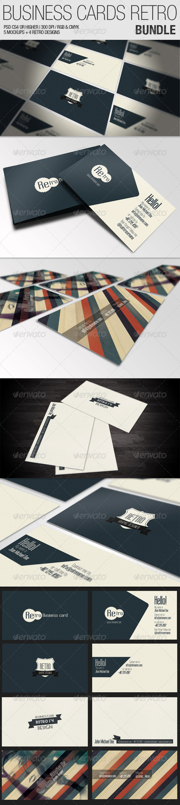 Business Cards Retro - Bundle - Business Cards Print