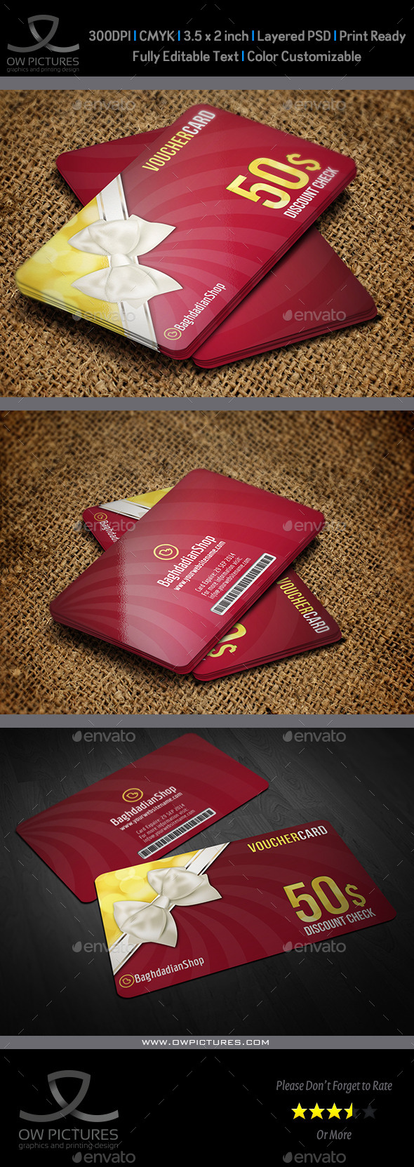 Gift  Voucher Card Template Vol 14 - Cards & Invites Print Templates