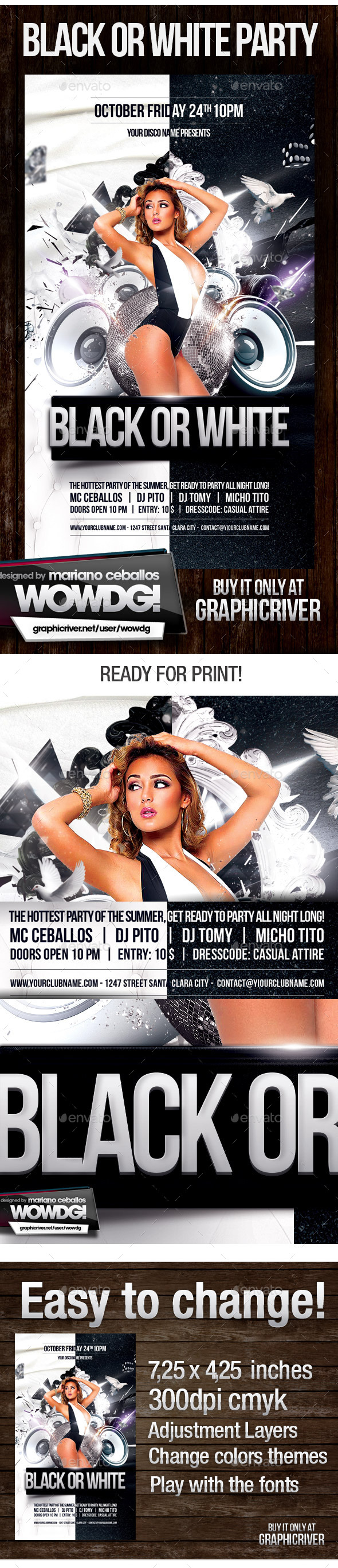 Black or White - Flyers Print Templates