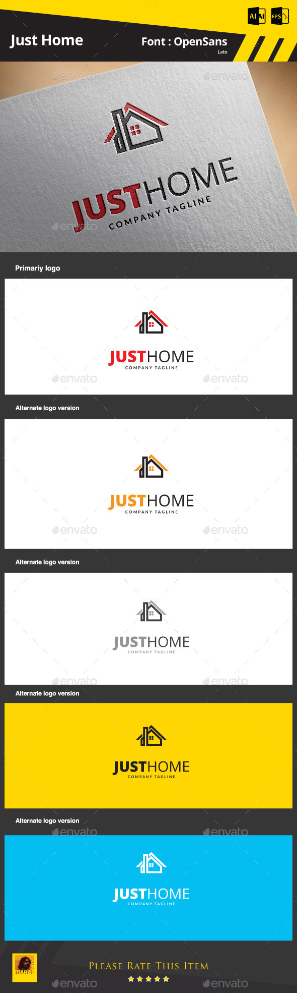 Just Home Logo Template - Buildings Logo Templates