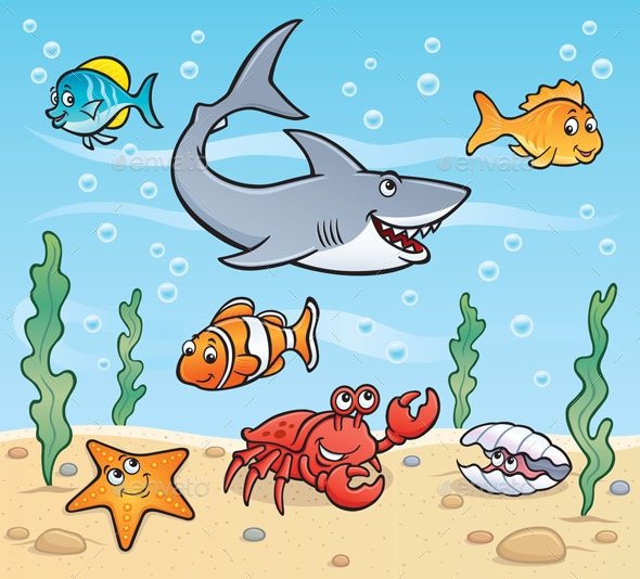 Sea Life Scene - Animals Characters