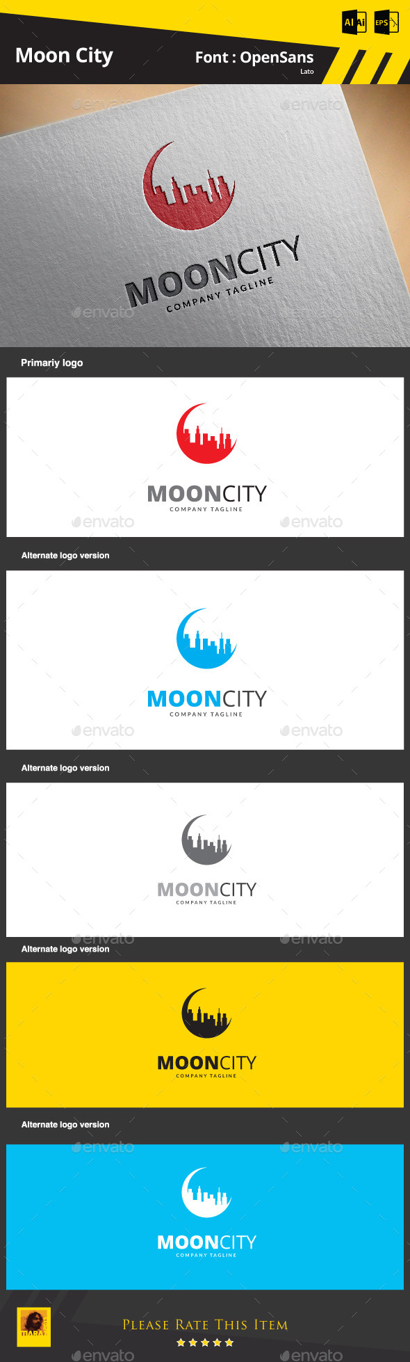 Moon City - Buildings Logo Templates