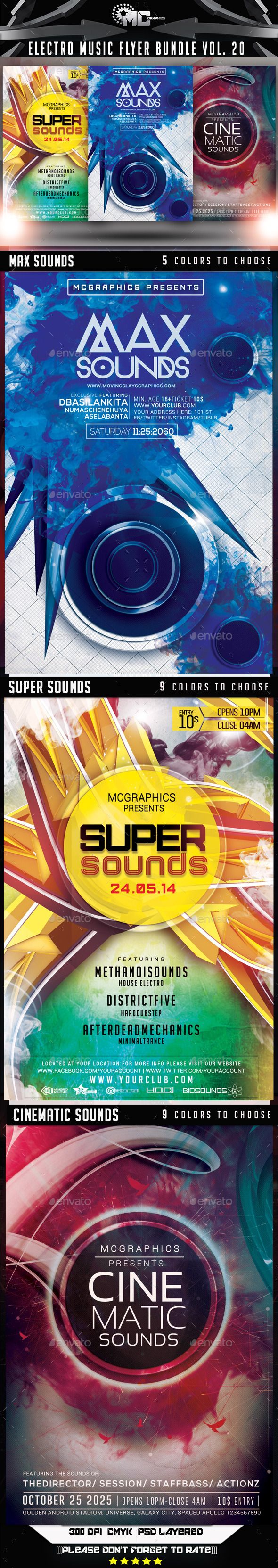 Electro Music Flyer Bundle Vol. 20 - Flyers Print Templates