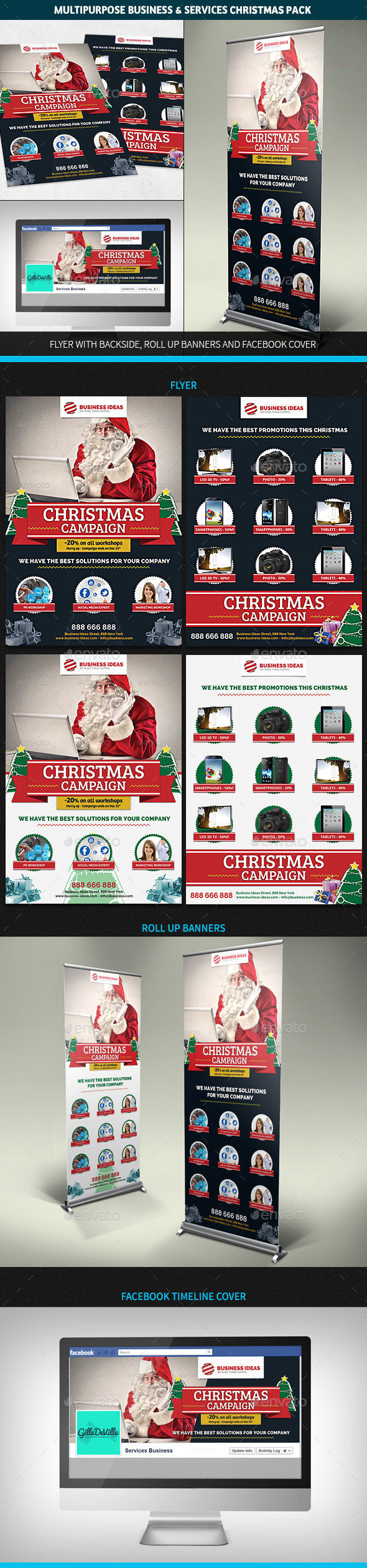 Multipurpose Corporate Business Christmas Pack - Commerce Flyers