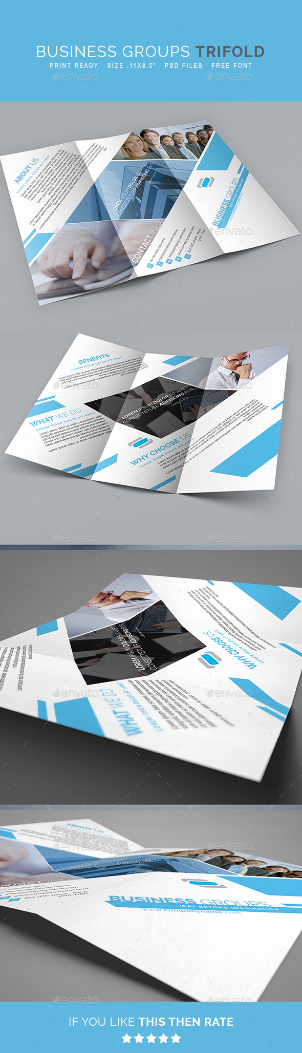 Business Group Multipurpose Trifold Brochure - Corporate Brochures
