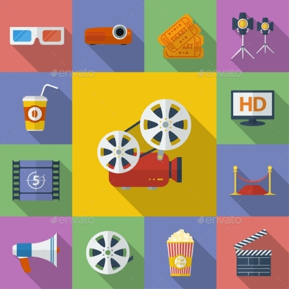 Set of Cinema, Movie Icons. Flat Style  - Media Technology