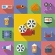 Set of Cinema, Movie Icons. Flat Style  - GraphicRiver Item for Sale