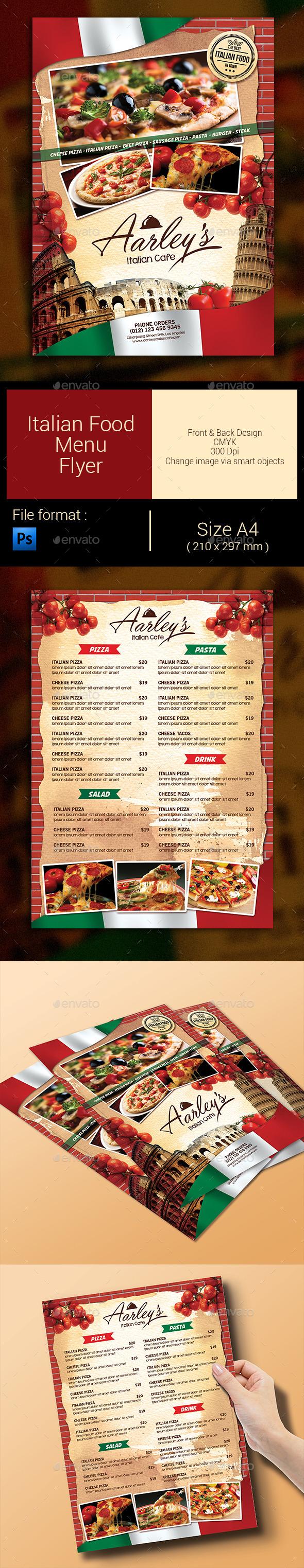 Italian Food Menu Flyer - Food Menus Print Templates