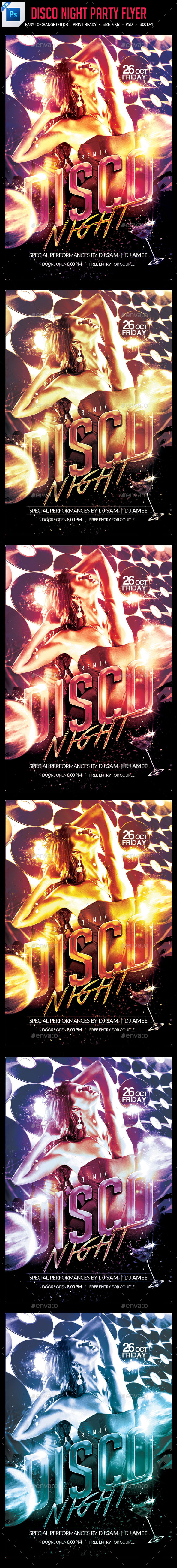 Disco Night Party Flyer - Clubs & Parties Events