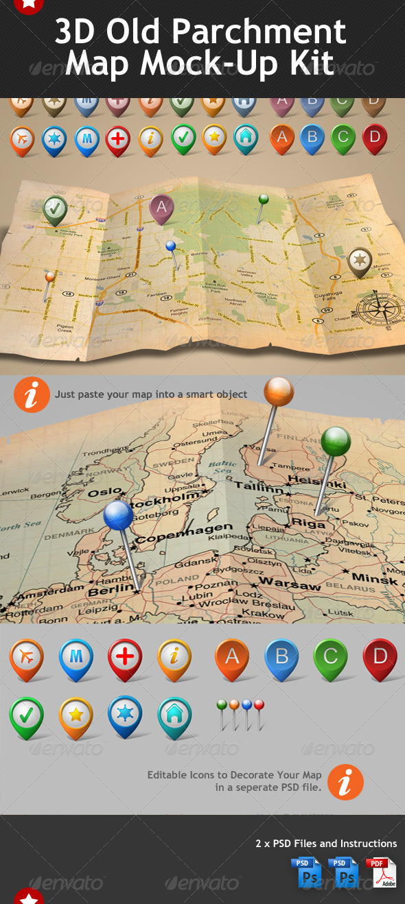 3d Old Parchment Map Mock Up Template - Miscellaneous Print