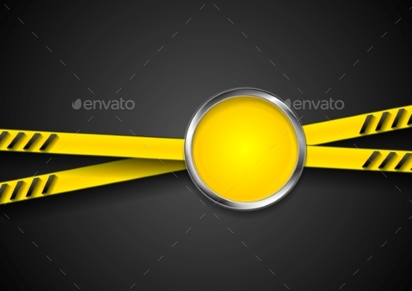 Danger Tape Abstract Background with Metal Circle - Backgrounds Decorative
