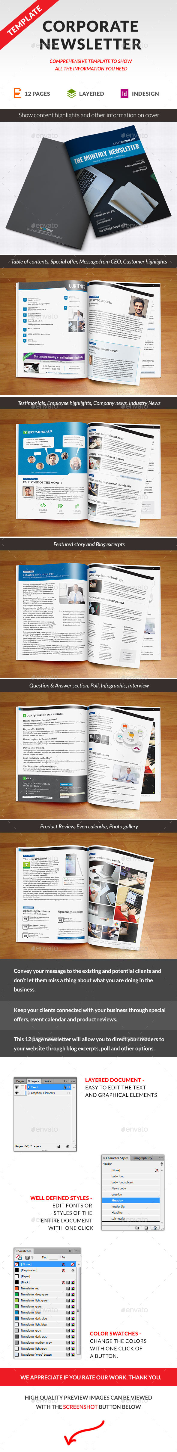 Corporate Newsletter Indesign Template - Newsletters Print Templates