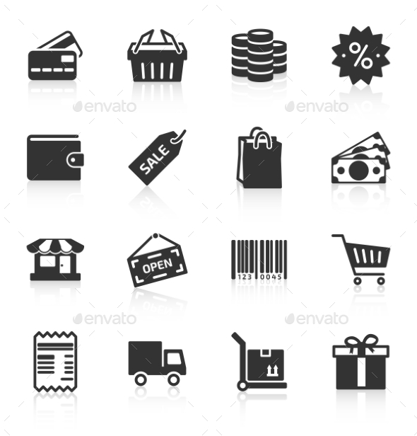Set of Shopping Icons - Retail Commercial / Shopping