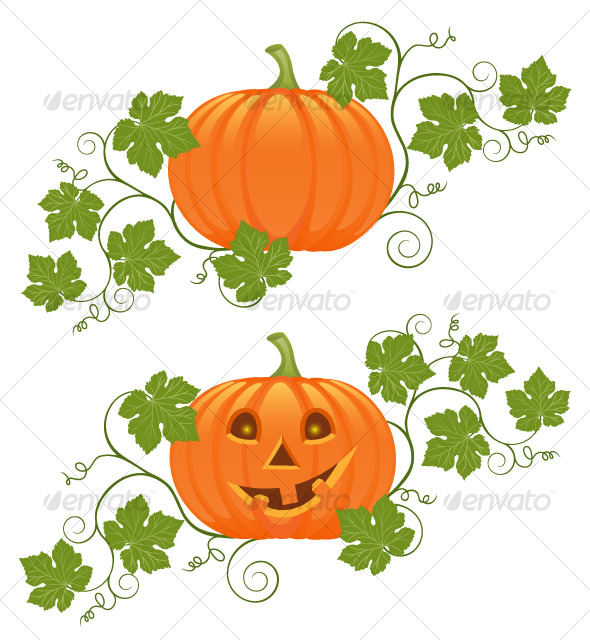 Floral ornament with a pumpkin - Halloween Seasons/Holidays