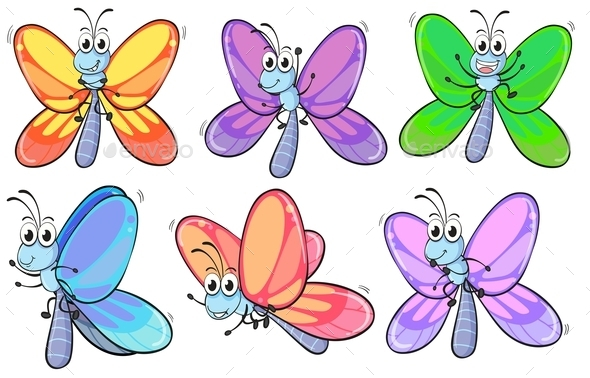 A Group of Colourful Butterflies - Animals Characters