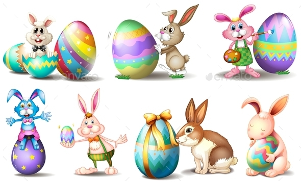 Easter Eggs with Playful Bunnies - Animals Characters