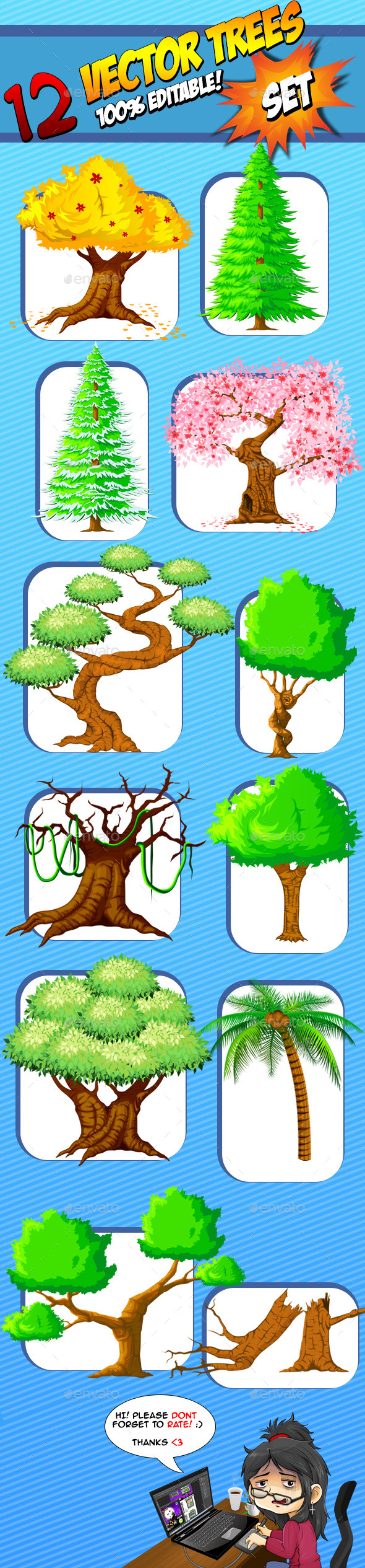 Vector Trees - Set - Nature Backgrounds