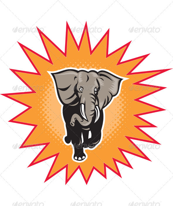African Elephant Charging With Halftone Dots - Animals Characters