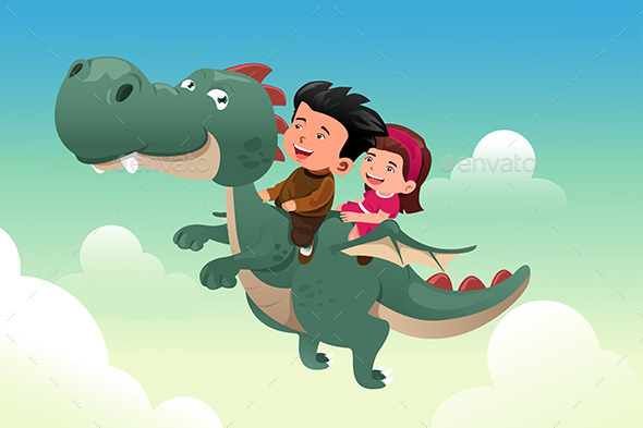Kids riding a Dragon - People Characters
