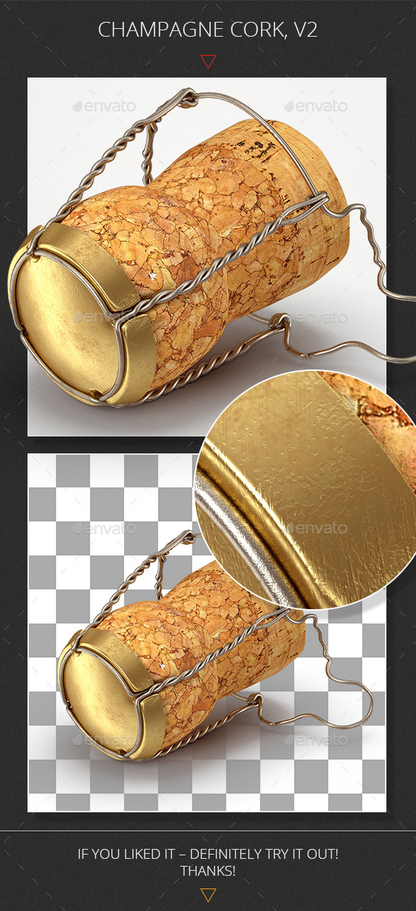 Champagne Cork, v2 - Objects 3D Renders