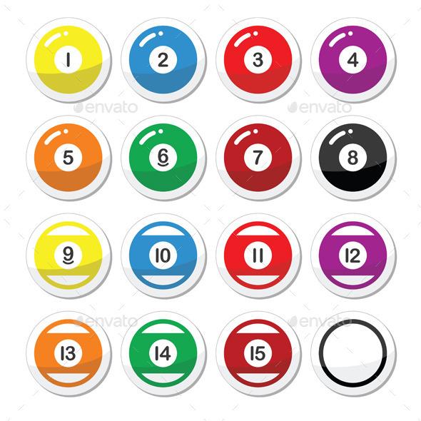Pool Ball, Billiard or Snooker Ball Icons Set - Miscellaneous Vectors
