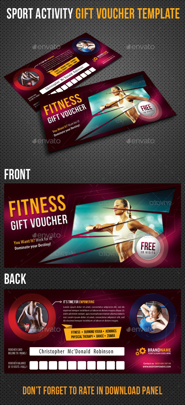 Sport Activity Gift Voucher 01 - Cards & Invites Print Templates