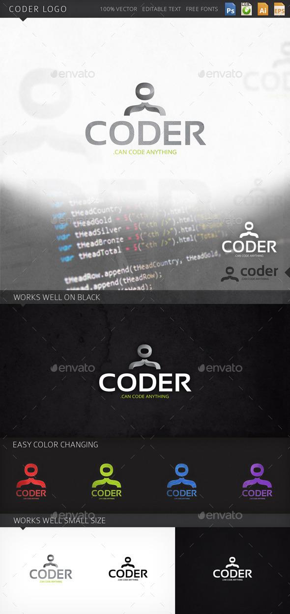 Coder Person Human Logo Template - Humans Logo Templates